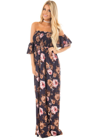 Navy Floral Print Off the Shoulder Smocked Maxi Dress front full body