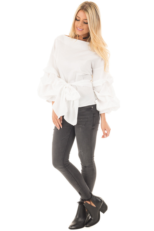 Off White Blouse With Ruffle Sleeves And Wrap Around Tie