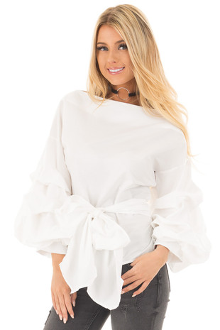 Off White Blouse with Ruffle Sleeves and Wrap Around Tie front close up