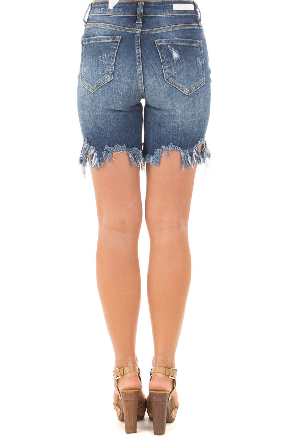 Dark Wash Frayed and Cropped Denim Shorts back view