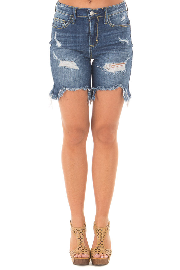 Dark Wash Frayed and Cropped Denim Shorts front view