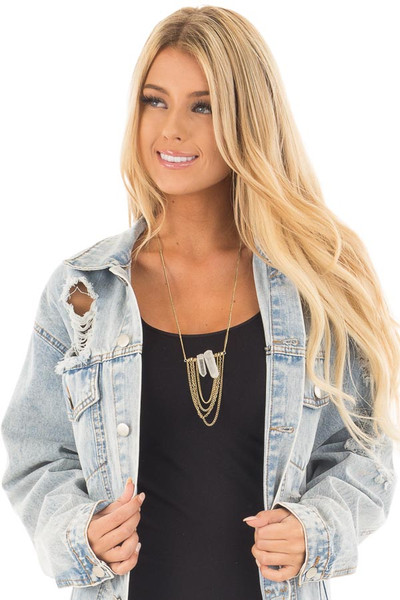 Clear Crystal Drop Chain Necklace