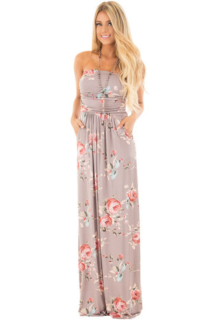 Mocha Floral Print Strapless Maxi Dress with Gathered Waist front full body