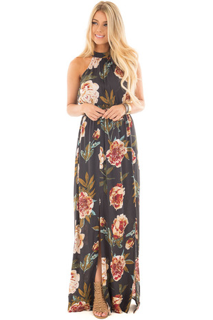 Navy Floral Print High Neck Maxi Dress with Front Slits front full body