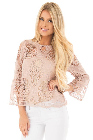 Mauve Sheer Floral Crochet Top with Bell Sleeves front close up