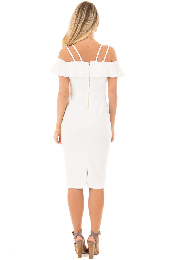 Ivory Sleeveless Body Con Dress with Strap and Ruffle Details back full body