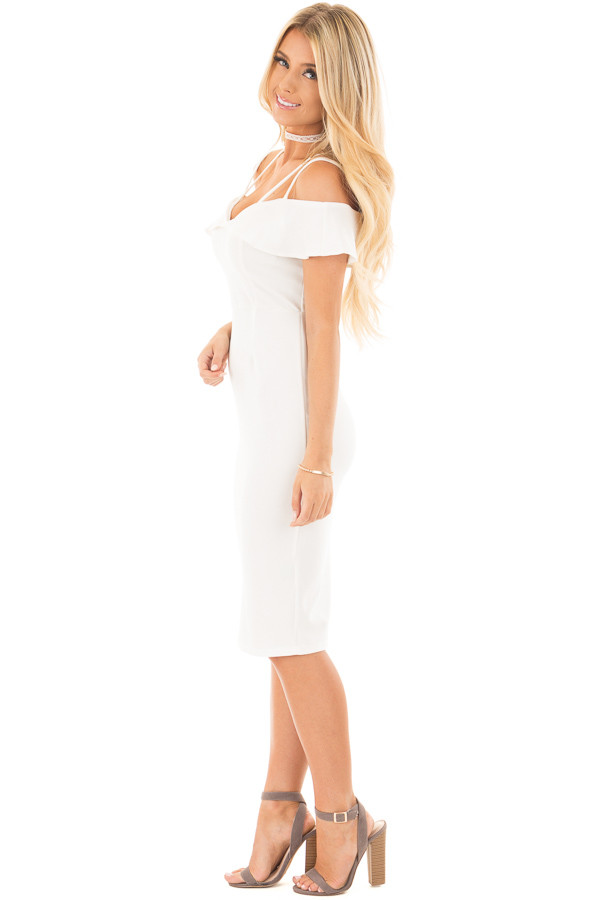 Ivory Sleeveless Body Con Dress with Strap and Ruffle Details side full body