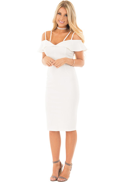 Ivory Sleeveless Body Con Dress with Strap and Ruffle Details front full body