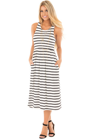 Black and White Striped Racerback Dress with Side Pockets front full body