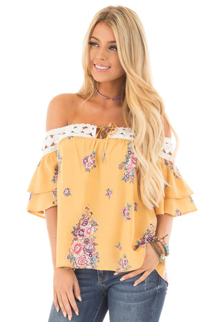 Dandelion Floral Off Shoulder Top with Crochet Trim front close up