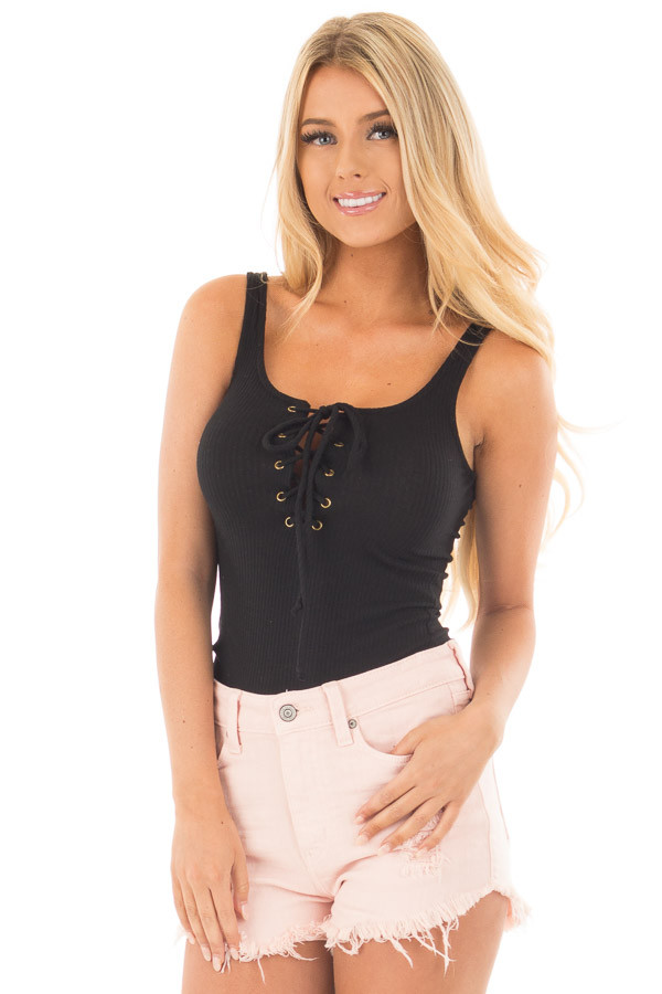 Black Ribbed Knit Bodysuit with Lace Up Neckline front close up