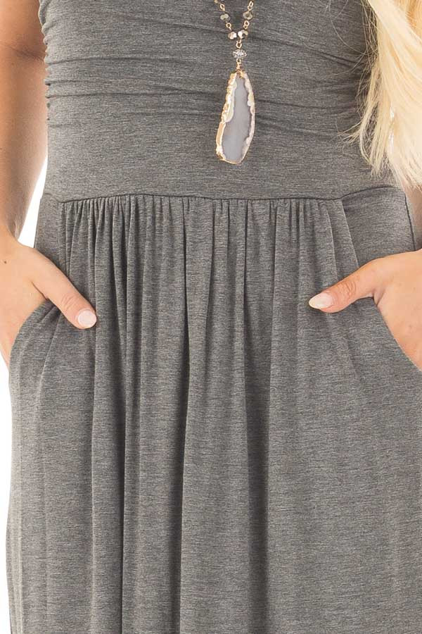Charcoal Strapless Maxi Dress with Side Pockets detail