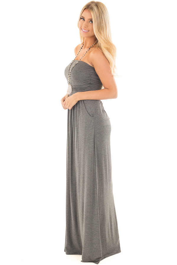 Charcoal Strapless Maxi Dress with Side Pockets side full body