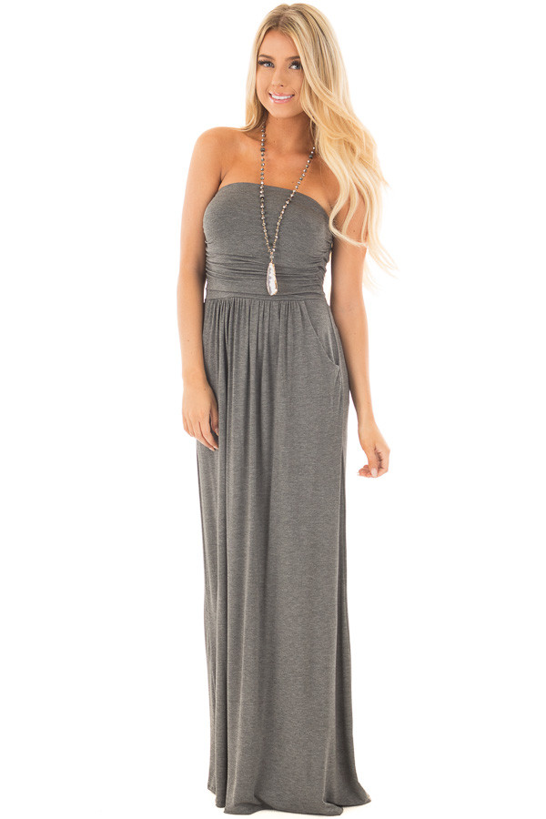 Charcoal Strapless Maxi Dress with Side Pockets front full body