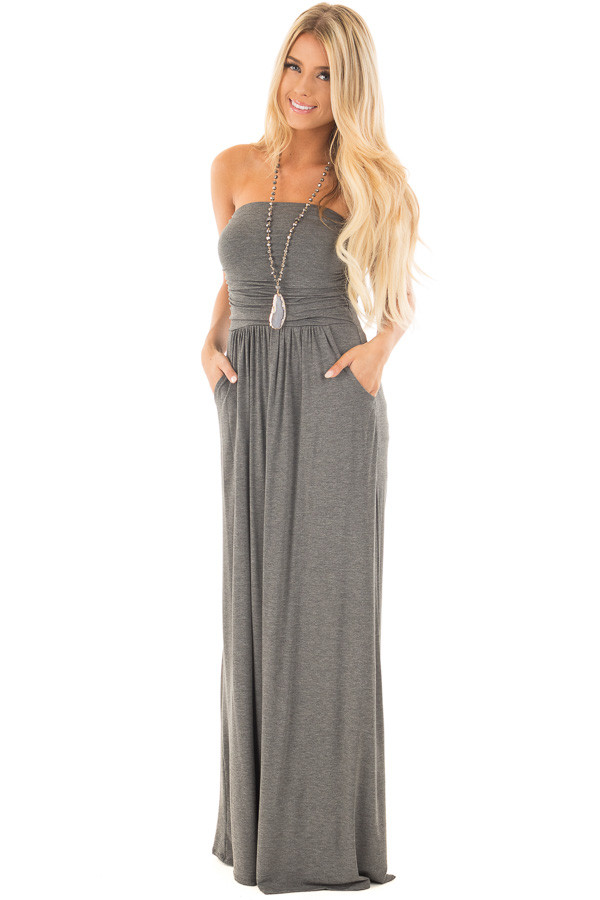 Charcoal Strapless Maxi Dress with Side Pockets - Lime Lush Boutique