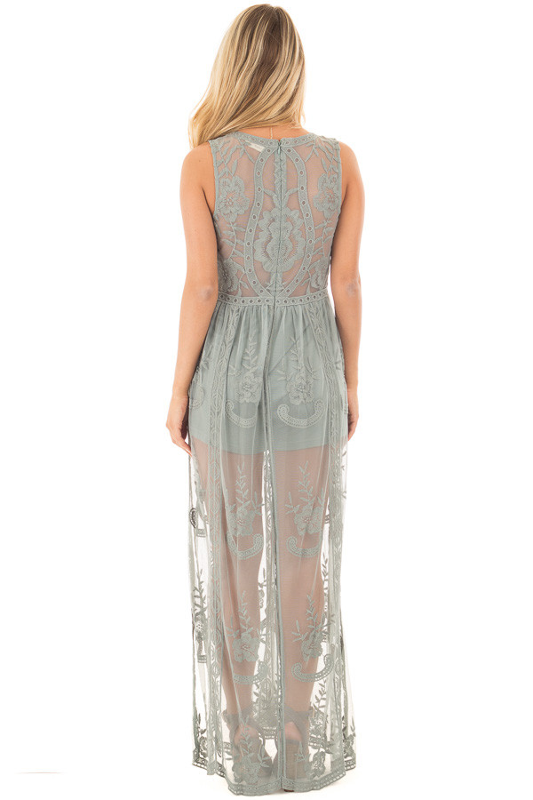Dusty Sage Lace Maxi Dress with Plunging V Neckline back full body