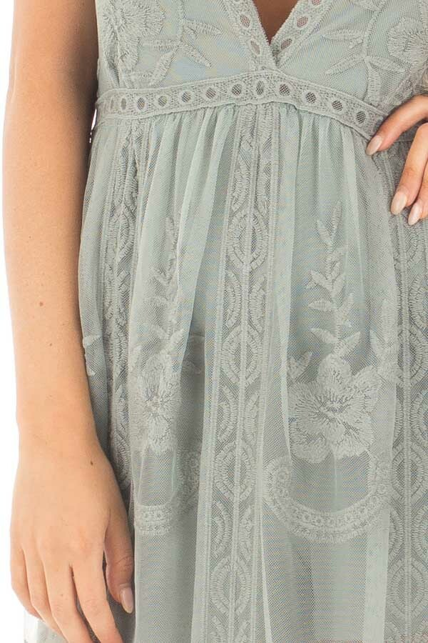 Dusty Sage Lace Maxi Dress with Plunging V Neckline detail