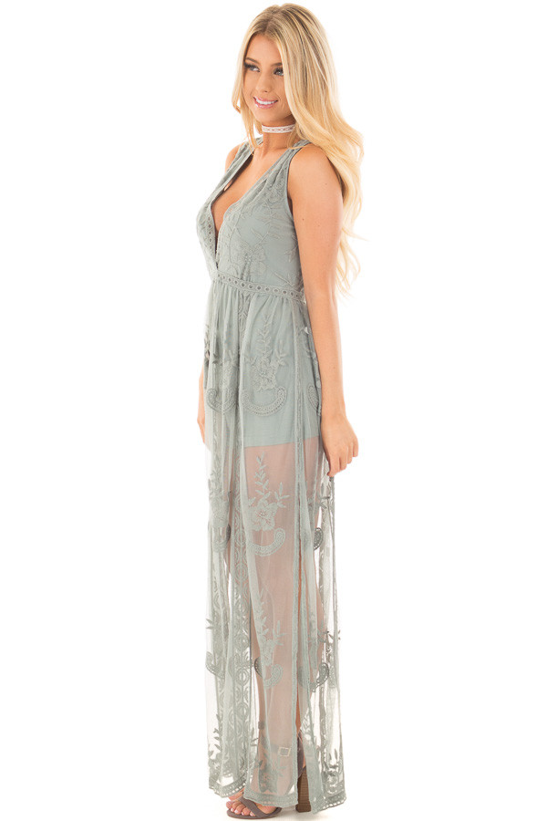 Dusty Sage Lace Maxi Dress with Plunging V Neckline side full body
