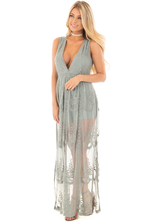 Dusty Sage Lace Maxi Dress with Plunging V Neckline front full body