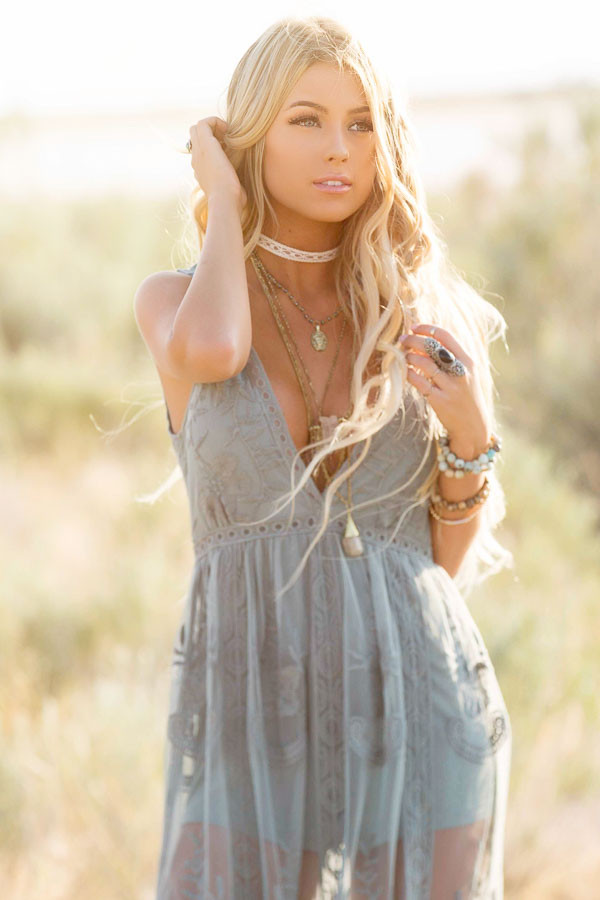 Dusty Sage Lace Maxi Dress with Plunging V Neckline front close up
