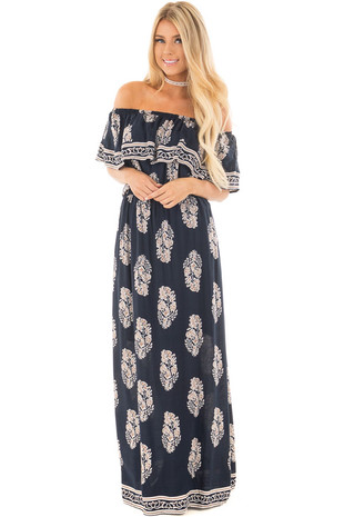 Navy Off Shoulder Maxi Dress with Taupe Printed Pattern front full body