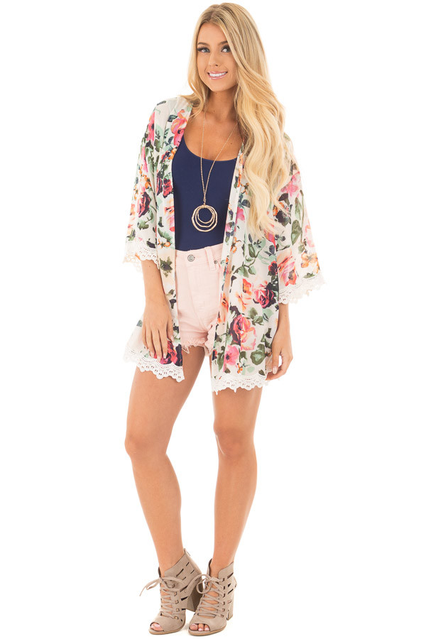 Cream Floral Kimono with Ivory Crochet Trim front full body
