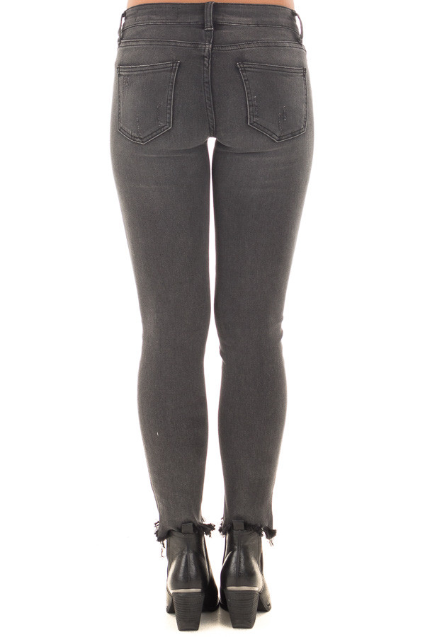Charcoal Midrise Skinny Jeans with Distressed Frayed Hem back view