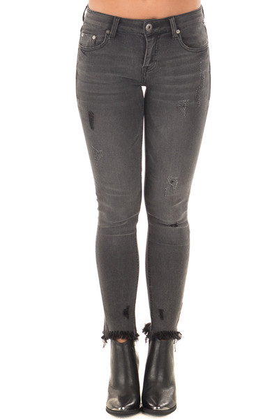 Charcoal Midrise Skinny Jeans with Distressed Frayed Hem front view