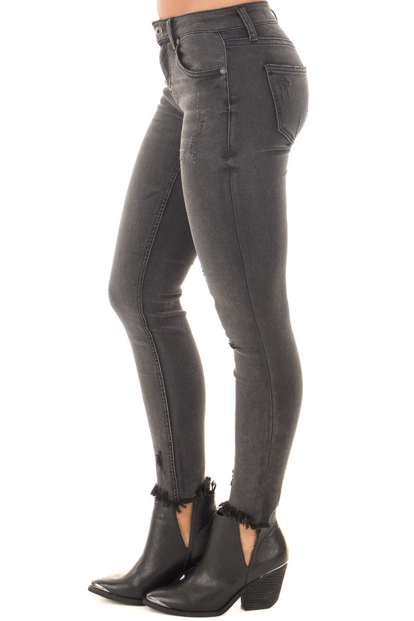 Charcoal Midrise Skinny Jeans with Distressed Frayed Hem side right leg