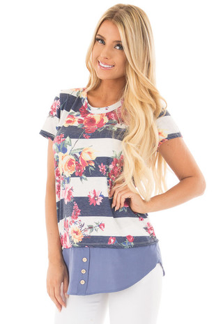 Navy Striped Floral Top with Buttoned Hemline Contrast front close up
