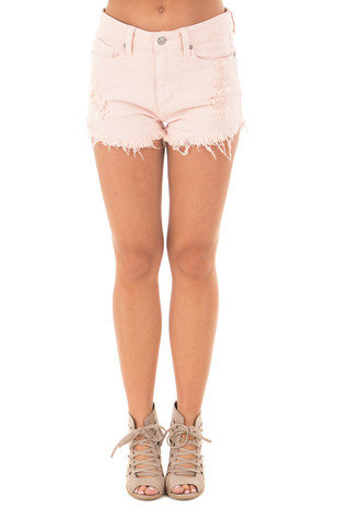 Blush High Rise Denim Frayed Cut Off Shorts front view