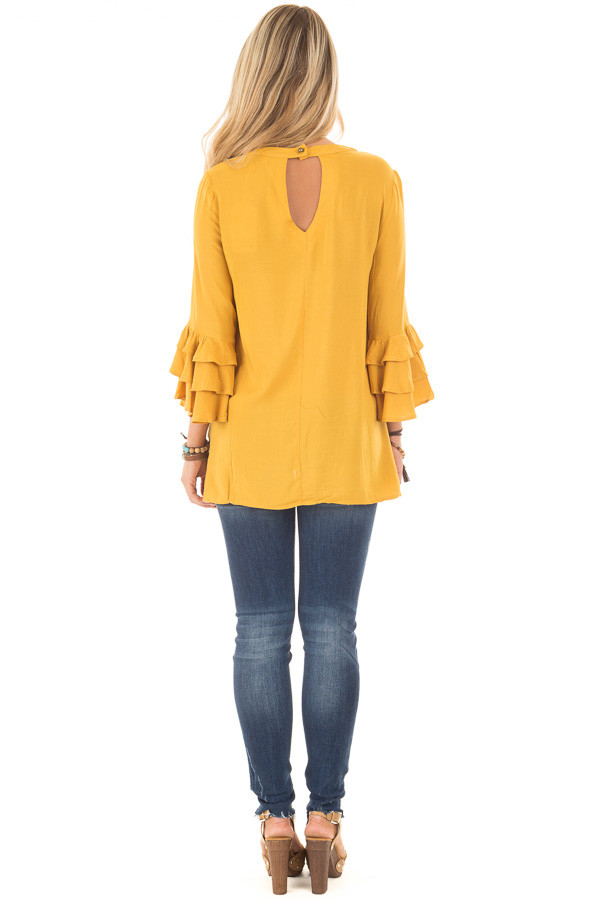 Mustard Tunic with Ruffle Bell Sleeves and Keyhole Neck back full body