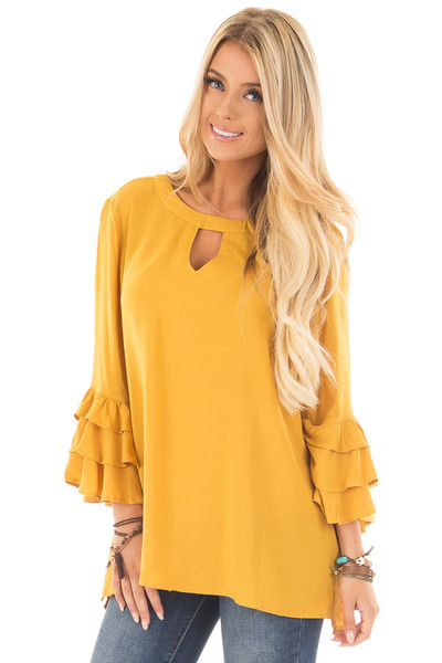 Mustard Tunic with Ruffle Bell Sleeves and Keyhole Neck front close up