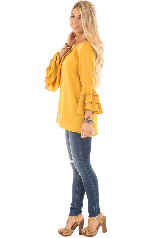 Mustard Tunic with Ruffle Bell Sleeves and Keyhole Neck side full body