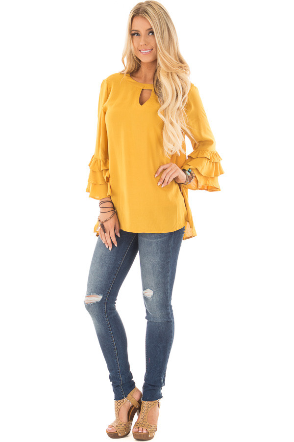 Mustard Tunic with Ruffle Bell Sleeves and Keyhole Neck front full body