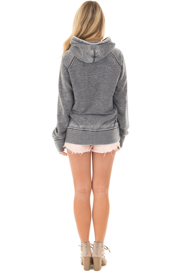 Washed Charcoal Soft Hoodie with White 'LAKE BUM' Print back full body