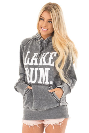 Washed Charcoal Soft Hoodie with White 'LAKE BUM' Print front close up