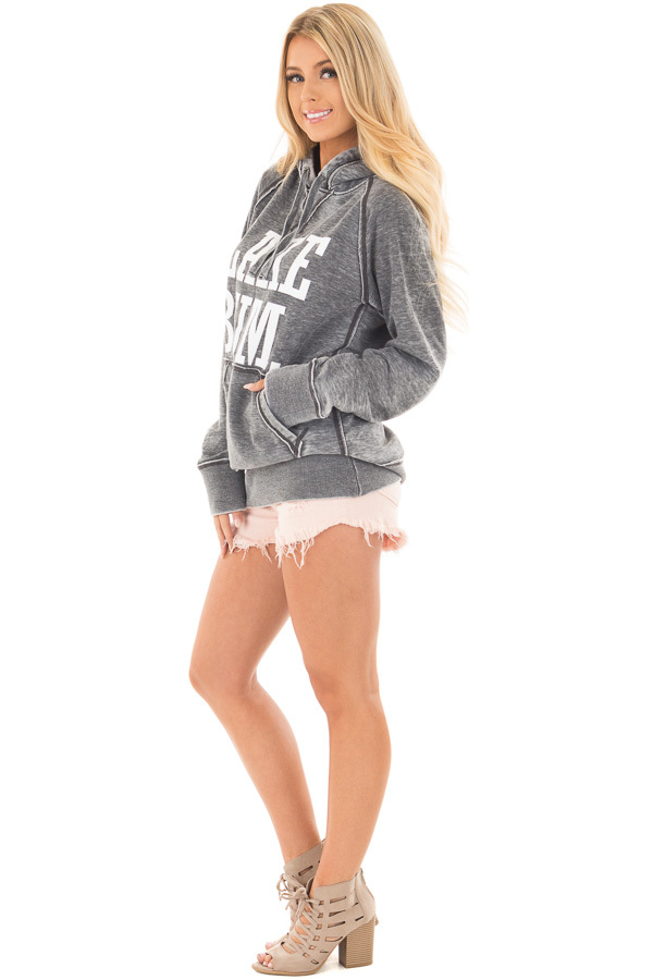 Washed Charcoal Soft Hoodie with White 'LAKE BUM' Print side full body