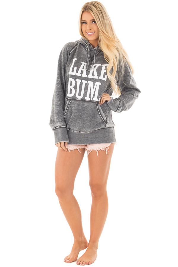 Washed Charcoal Soft Hoodie with White 'LAKE BUM' Print front full body