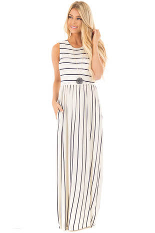 Ivory and Navy Striped Sleeveless Maxi Dress front full body