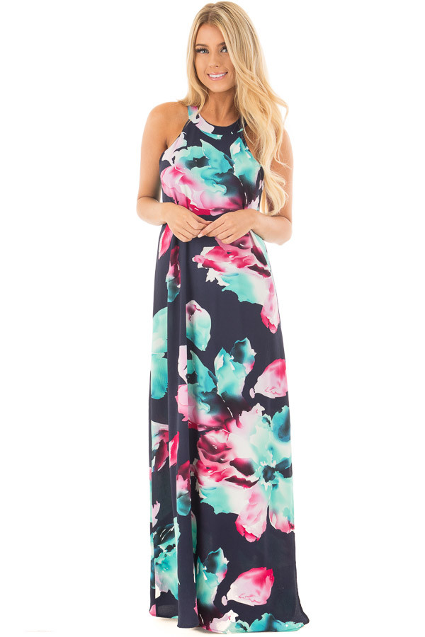 Navy Floral Print Halter Maxi Dress with Side Slit Detail front full body
