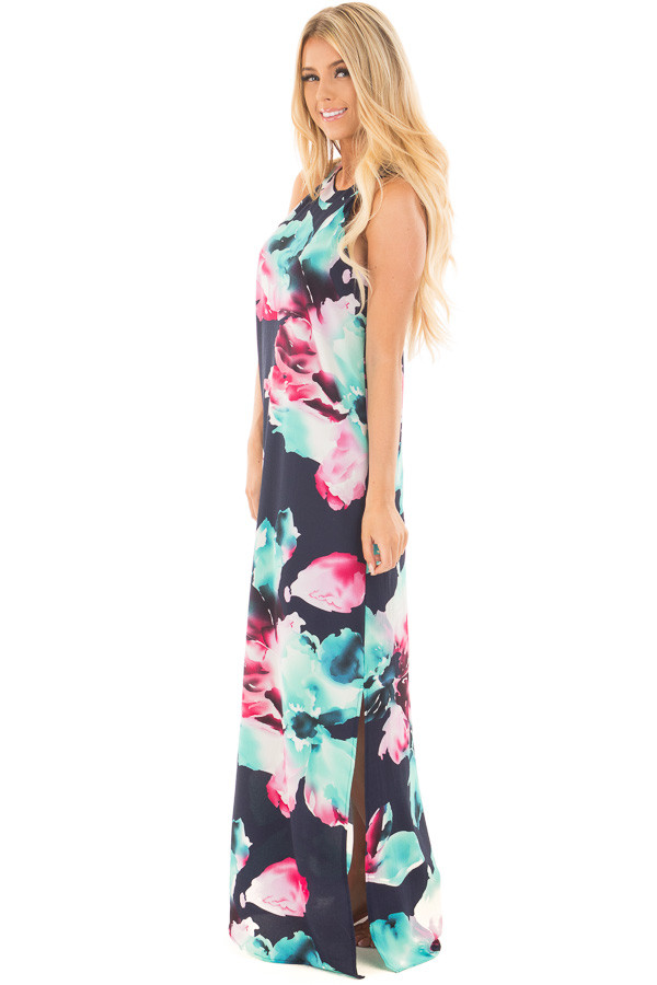 Navy Floral Print Halter Maxi Dress with Side Slit Detail side full body