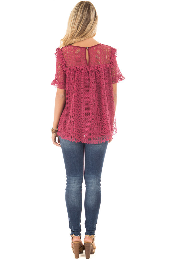 Berry Red Lace Baby Doll Top with Ruffle Detail back full body