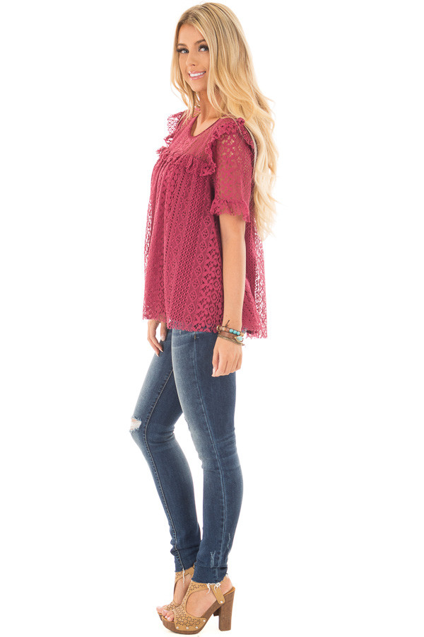 Berry Red Lace Baby Doll Top with Ruffle Detail side full body