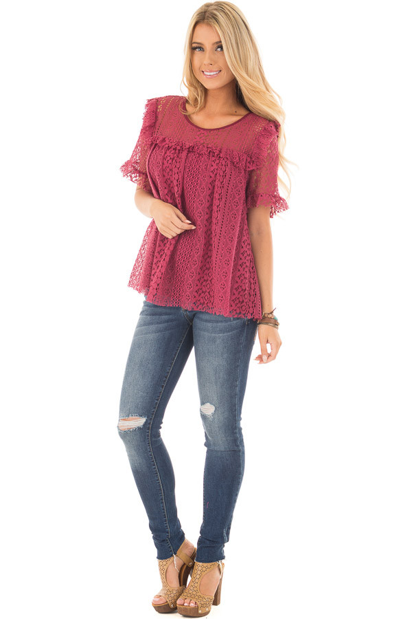 Berry Red Lace Baby Doll Top with Ruffle Detail front full body