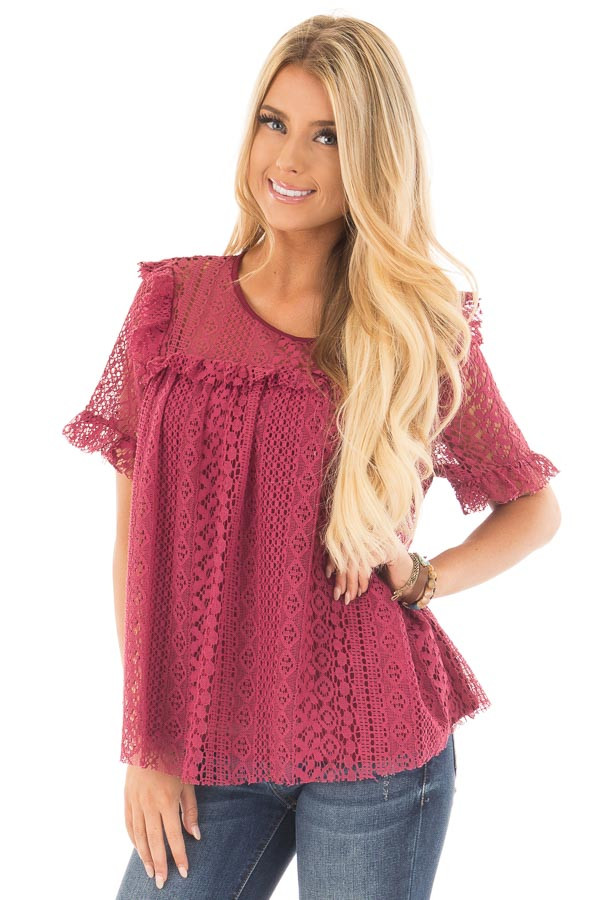 Berry Red Lace Baby Doll Top with Ruffle Detail front close up