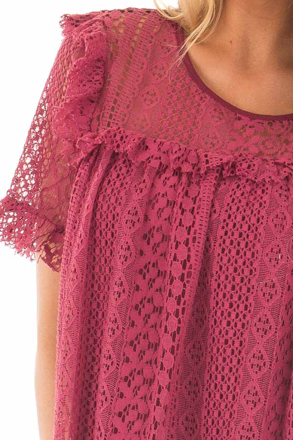 Berry Red Lace Baby Doll Top with Ruffle Detail detail