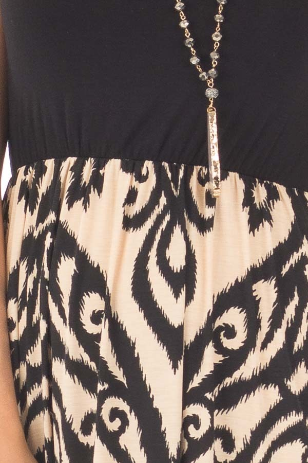Black and Taupe Damask Print Sleeveless Maxi Dress detail