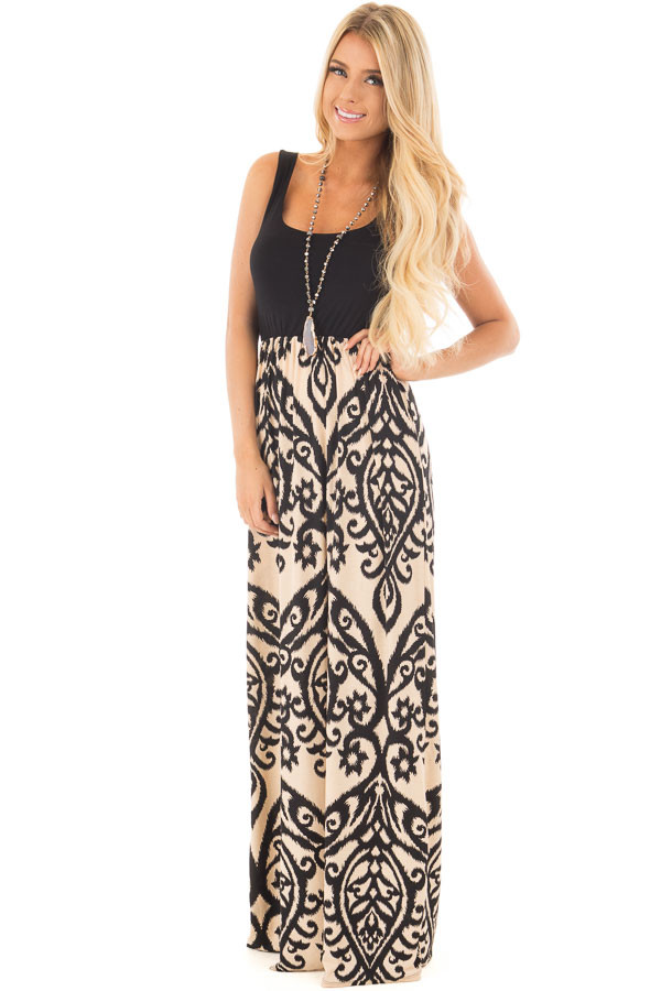 Black and Taupe Damask Print Sleeveless Maxi Dress front full body