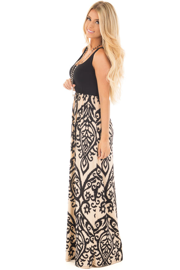 Black and Taupe Damask Print Sleeveless Maxi Dress side full body